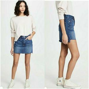 FRAME Mini Raw-Edge Stagger Denim Skirt Casablanca